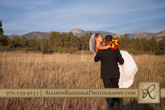 bride being carried away by groom toward mountains mancos colorado
