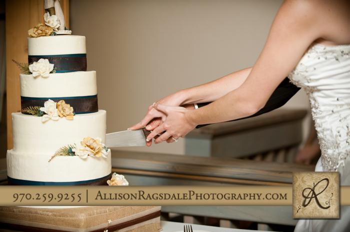 bride and groom cutting cake wedding reception silverpick lodge