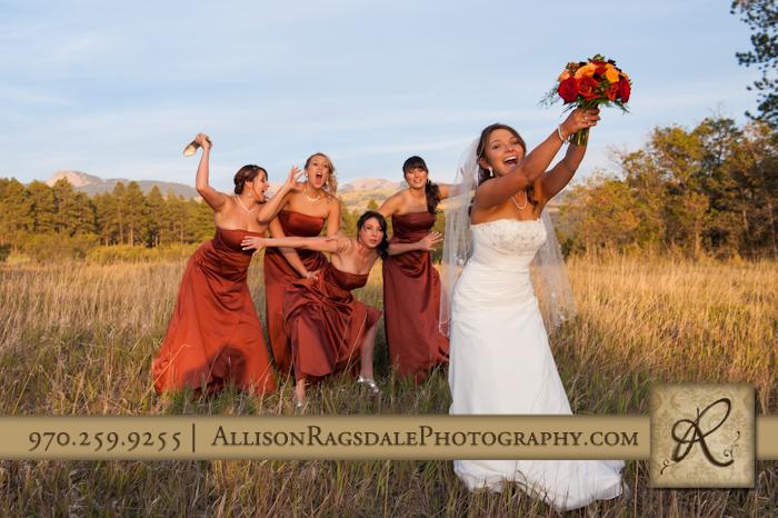 bride bouquet toss with bridesmaids mancos co
