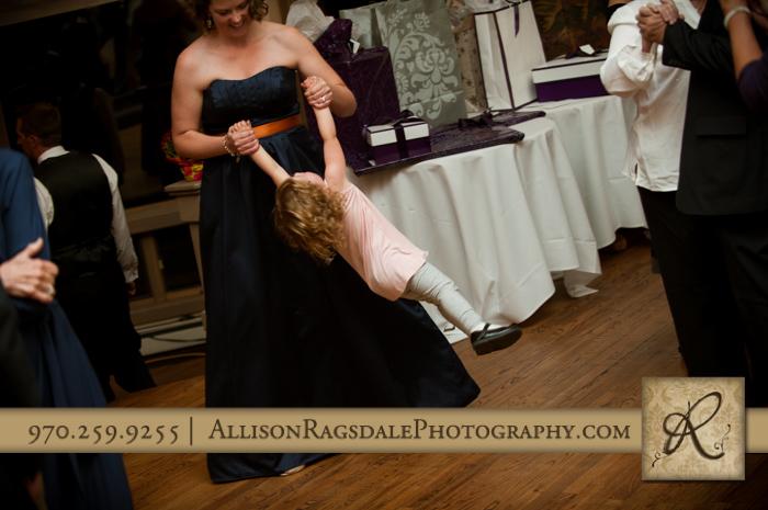 mother swinging daughter dance wedding reception fall durango co