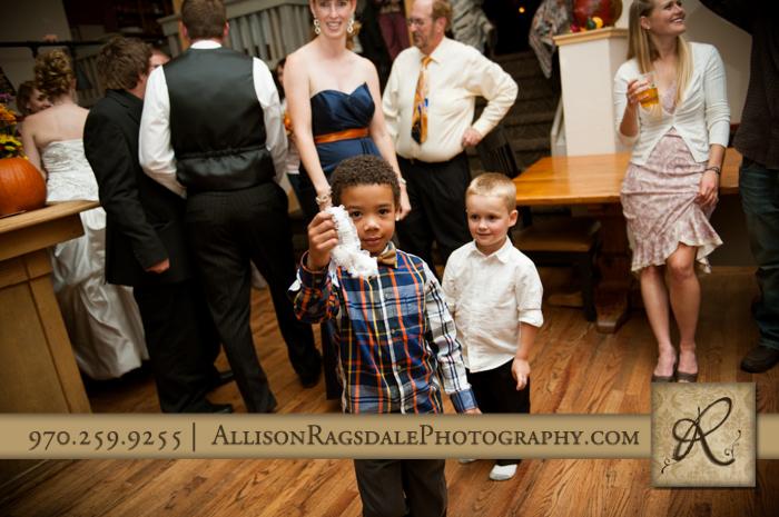 garter toss little boys wedding reception silverpick lodge durango co