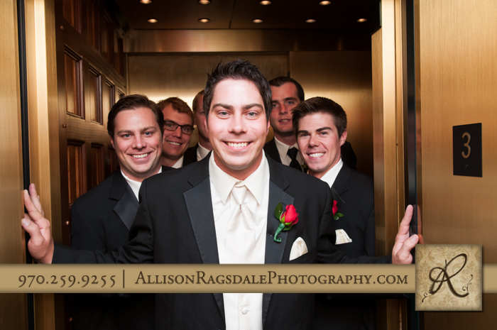 wedding party in elevator beaumont hotel ouray co wedding photo