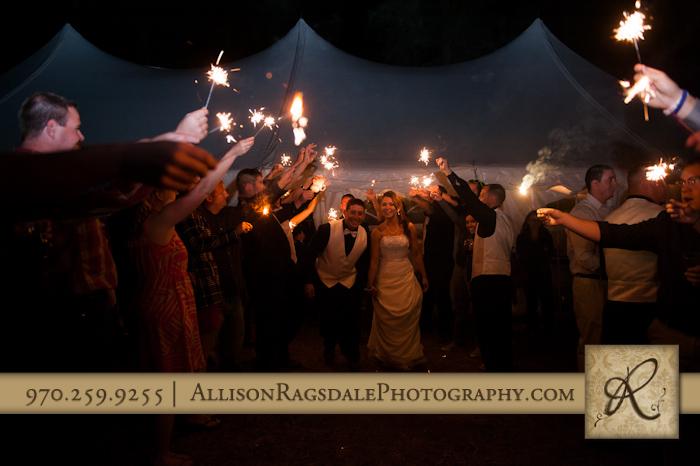 bride and groom exit wedding reception mancos co