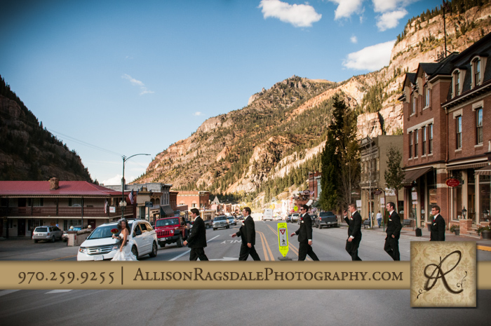abbey road wedding party picture beaumont hotel ouray co wedding photo