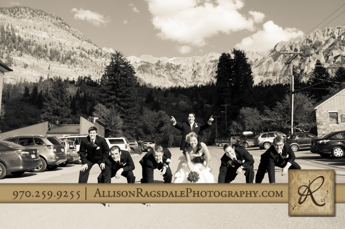 football formation wedding party pic beaumont hotel ouray co wedding photo