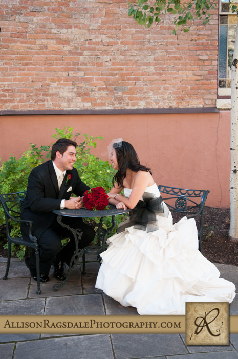 bride and groom beaumont hotel ouray co wedding photo
