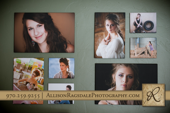 whcc float wrap collage on clients wall durango senior girl pics