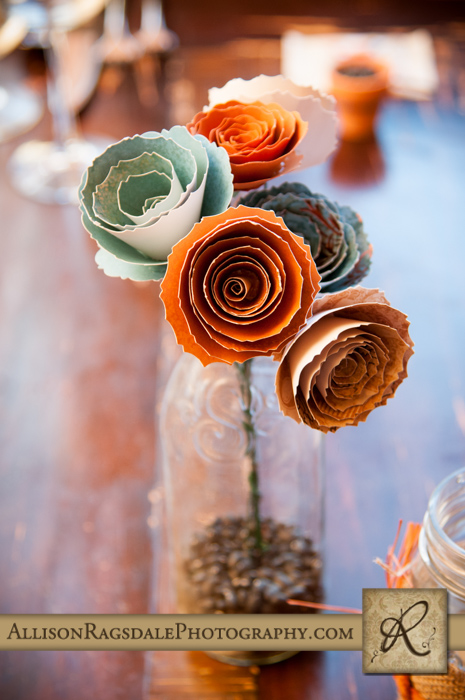 paper flowers diy bride made for wedding reception at silverpick lodge