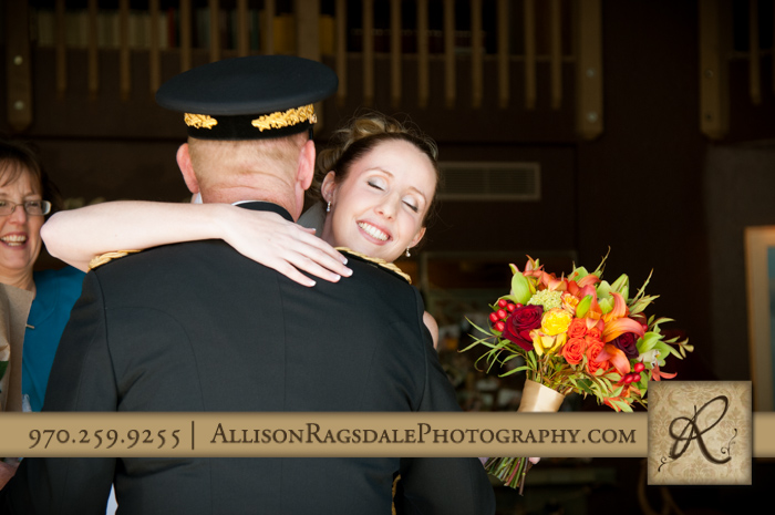 daughter hugging father before ceremony silverpick lodge durango co