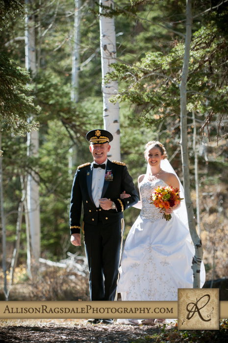 father walking bride down aisle boyce meadow wedding ceremony durango co