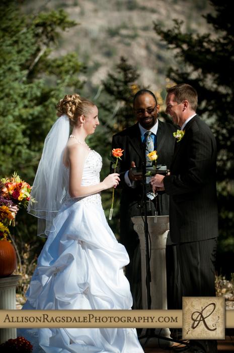 exchanging roses wedding ceremony boyce meadow durango co