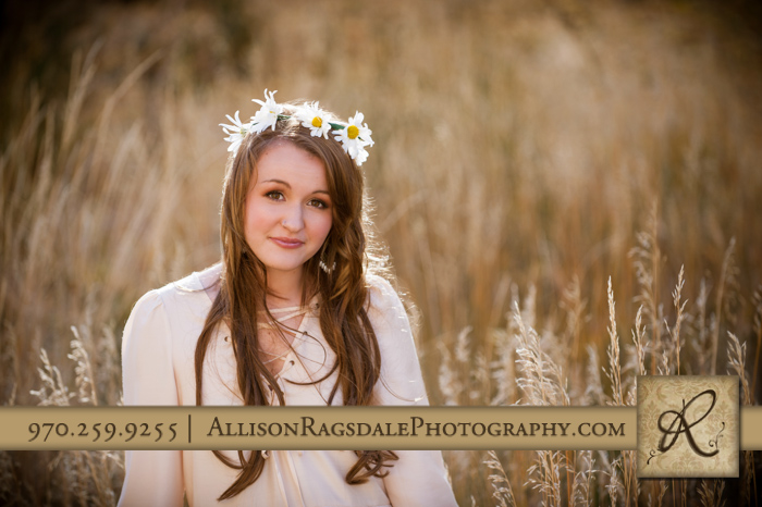 flower garland and long grass senior girl photo durango co