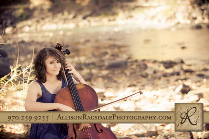 playing cello by the river senior pic durango co