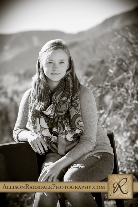 black and white senior pic animas valley backdrop durango