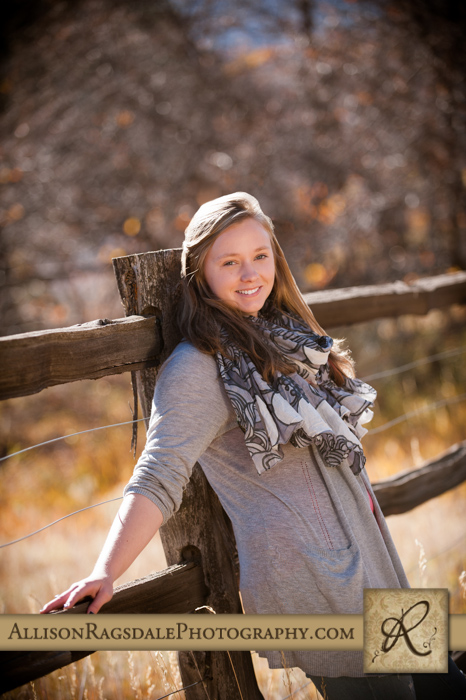 fence line senior girl portrait durango co