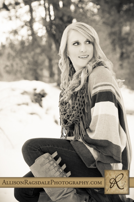 black and white durango snow poncho senior girl pic