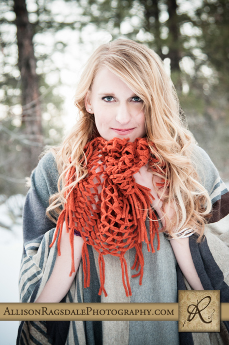 rust colored scarf in the snow senior girl photo durango co