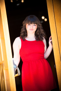 red dress senior pic smiley building durango