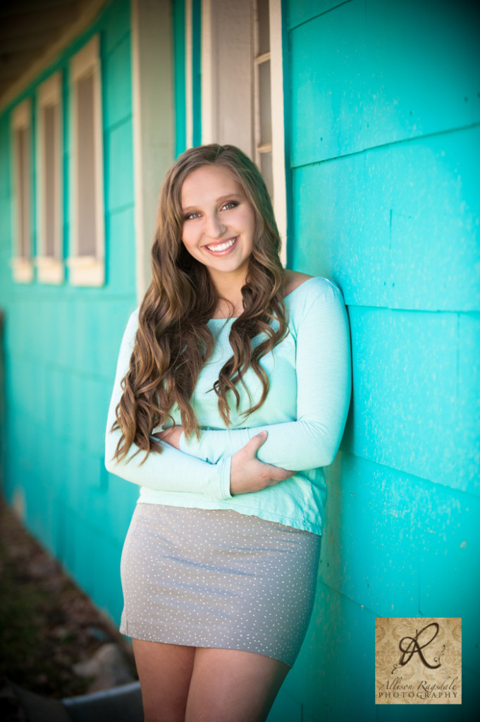 turquoise building girl senior portrait junction creek durango