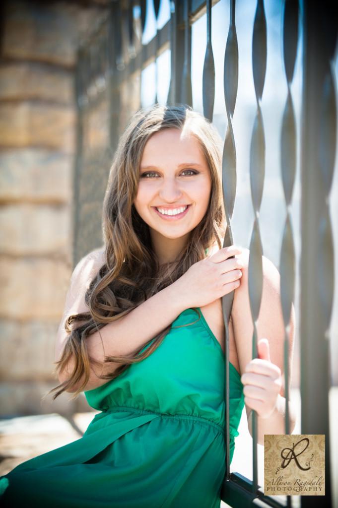 green dress wrought iron senior girl photo durango