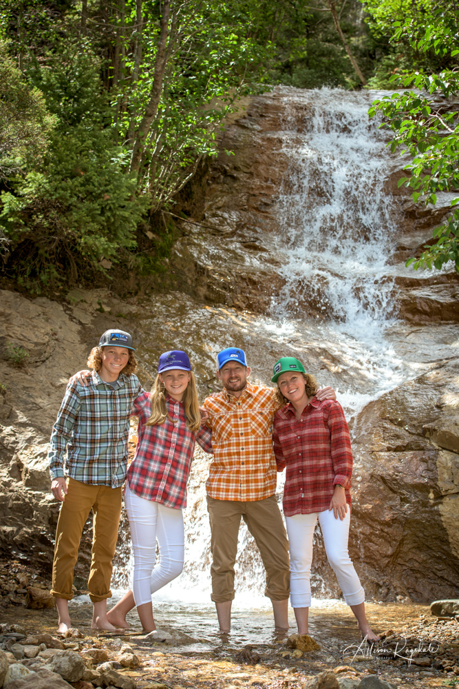 outdoor adventure waterfall family portraits
