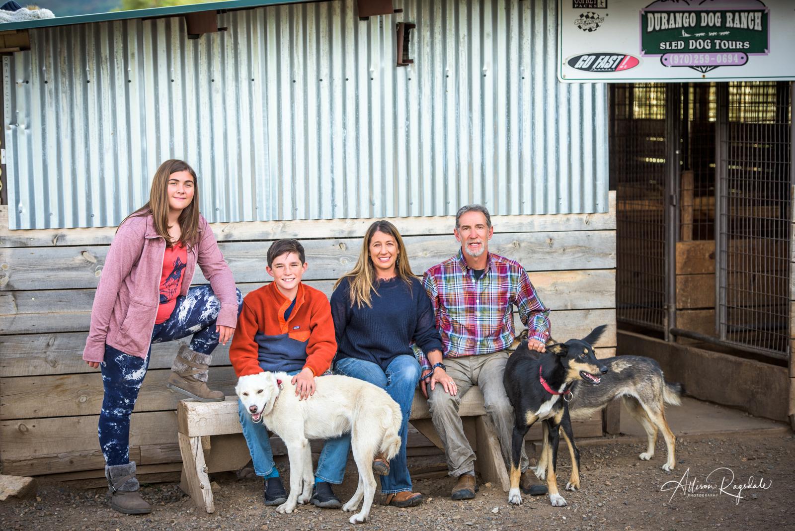 outdoor family portraits in Durango Colorado with pets