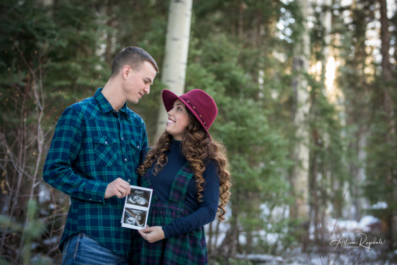 Allen Family Portraits and Baby Announcement Durango Colorado Photographed by Allison Ragsdale Photography In Winter Durango CO