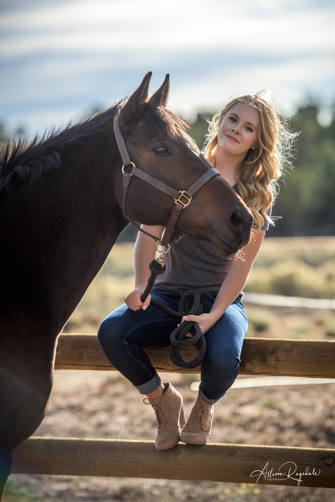 Professional fall senior portraits with horses ideas