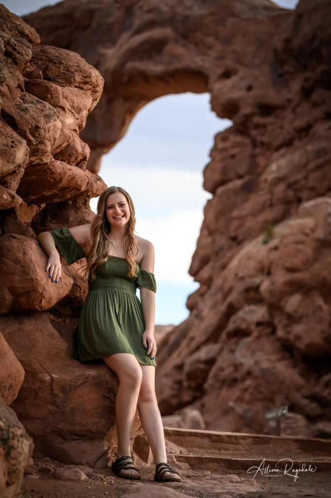 senior portraits in arches national park
