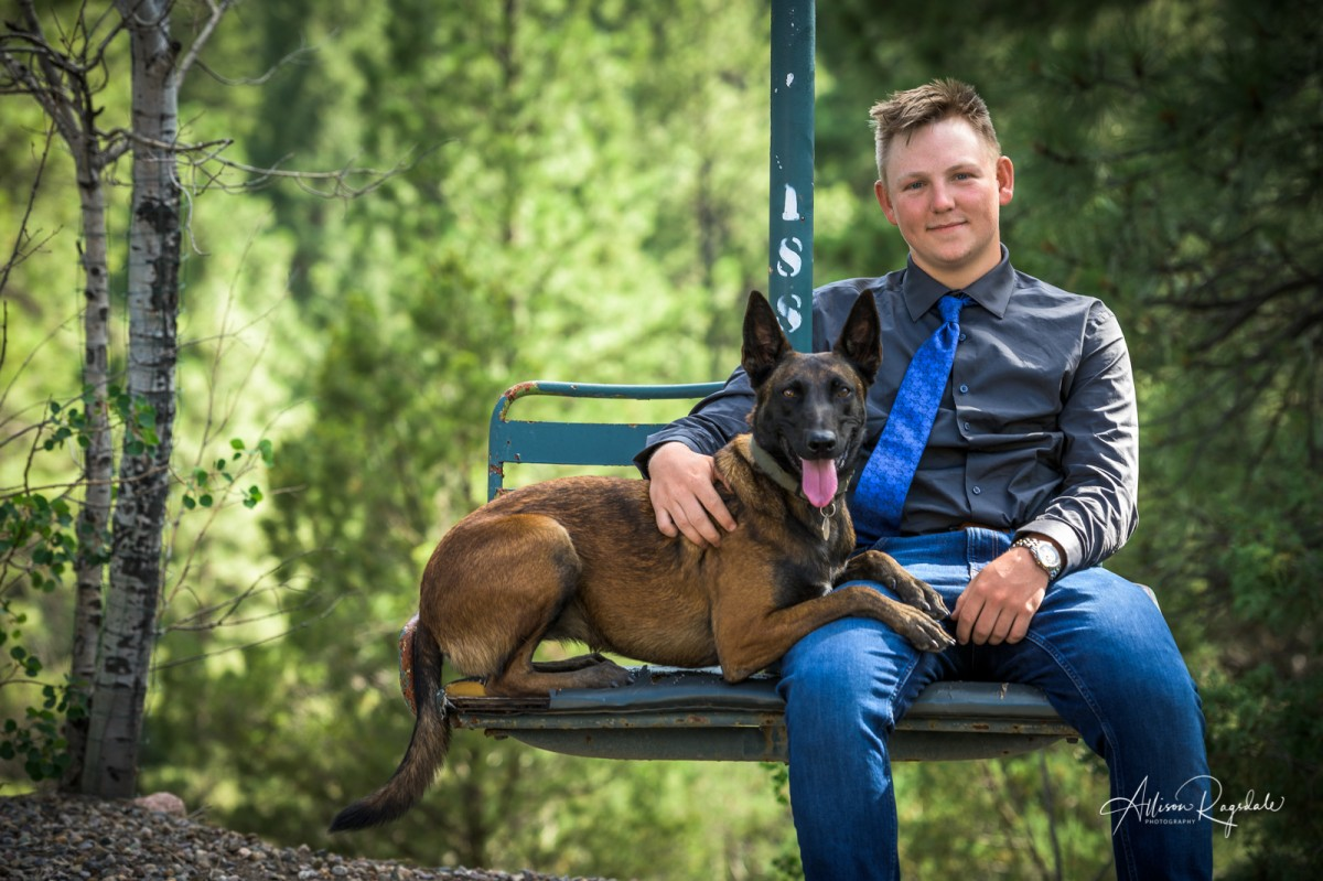 Guy with dog, Christian Swan's Senior Pictures