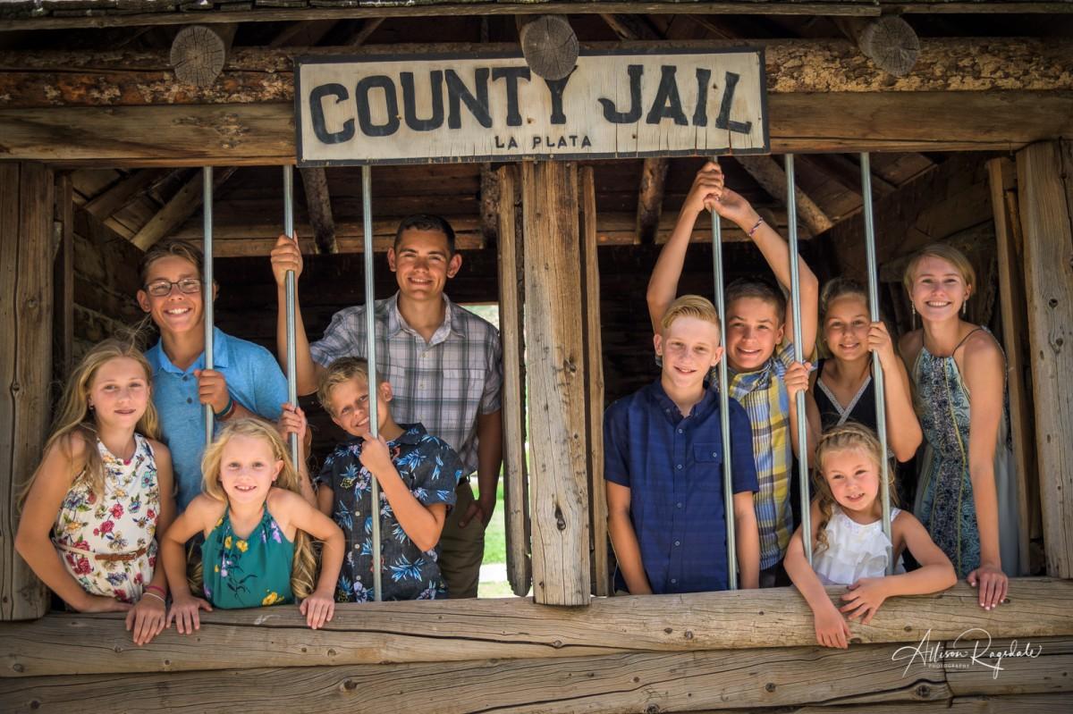 Fun family photos, county jail, Durango, Welter & Co.