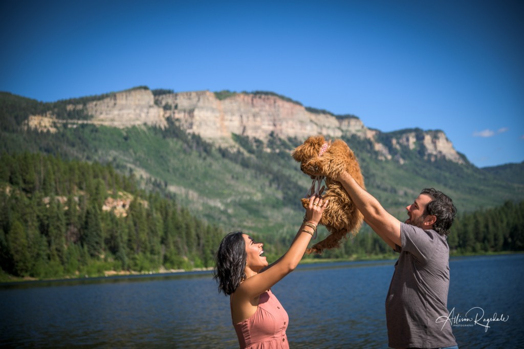 Family photos with dog, outdoor, Durango, The Taylor Family