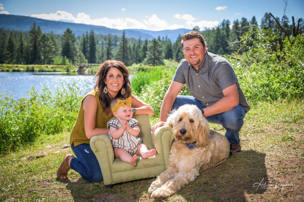 Durango family photos with dog and baby, The Taylor Family