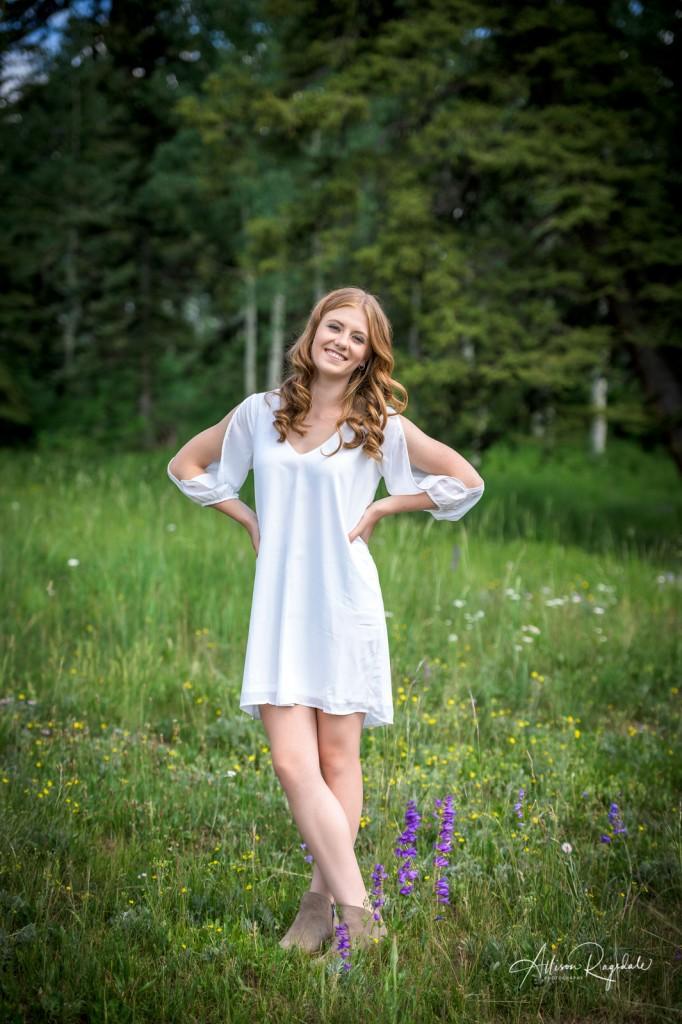 Kaylan Wait Senior Picture in White Dress