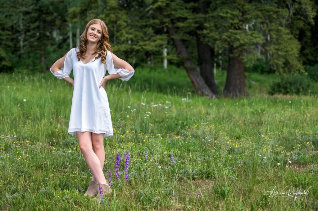 Girl in White Dress Kaylan Wait Senior Picture