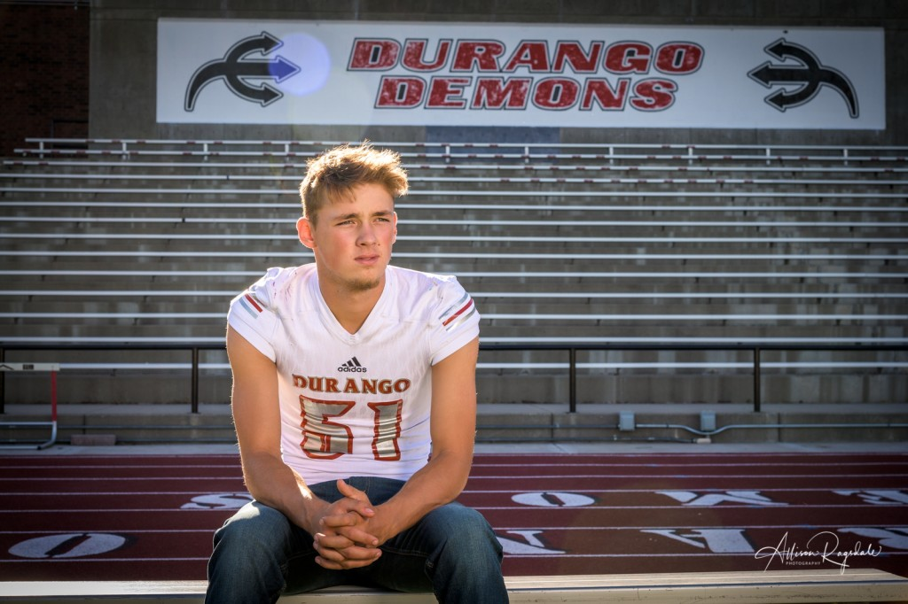 Football senior highschool pictures in Durango, CO