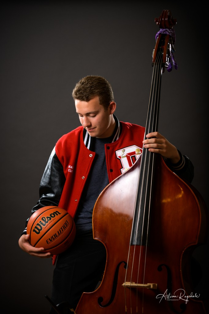 Basketball and cello senior pictures in Durango