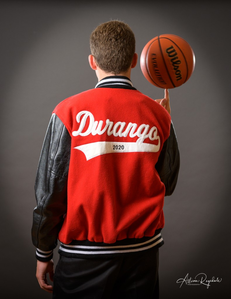 Durango high school senior pictures with basketball