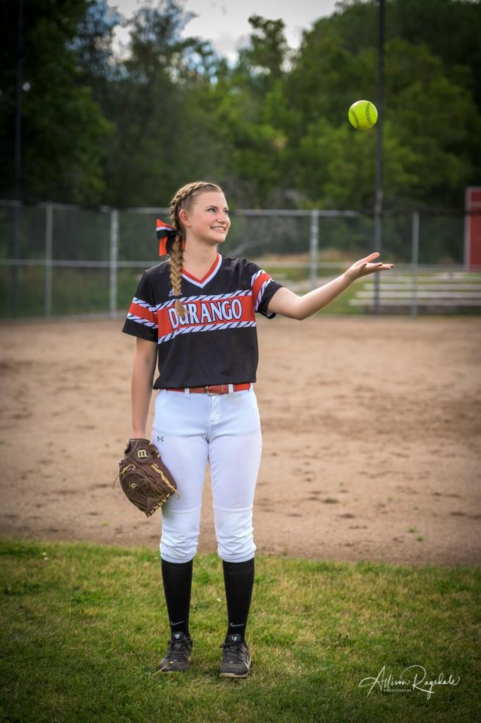 Cool softball senior pictures in Durango