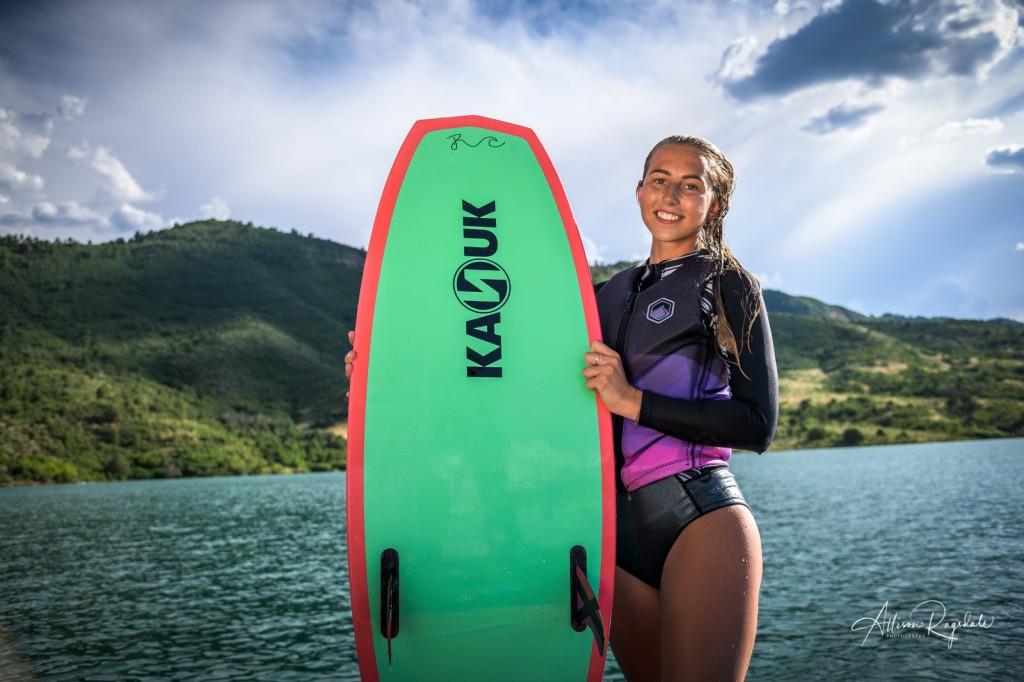 Wakeboarding Senior Pictures at lake