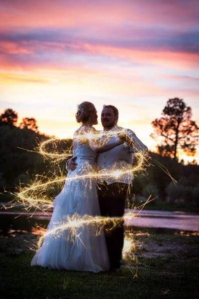 Bride & Groom at Sunset with sparklers photo, Durango wedding photography at Leplatts Pond