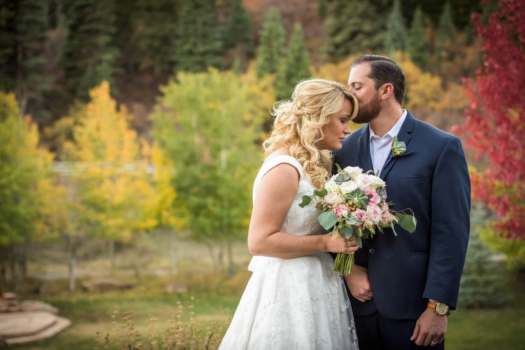 Durango Fall Wedding Photography of Bride and Groom. Private Ranch