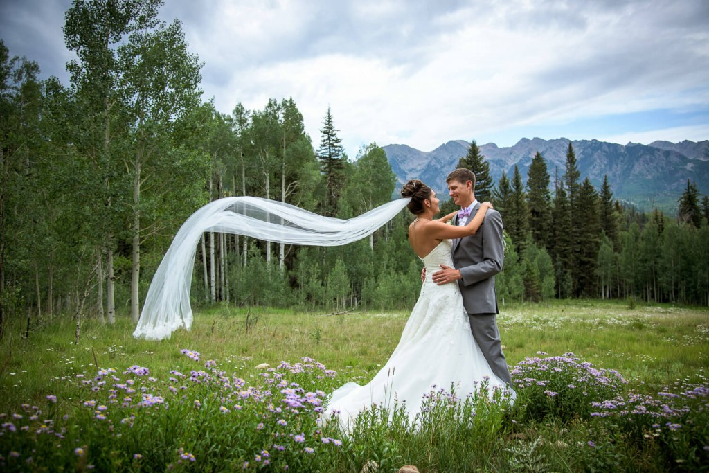 Durango Mountain Wedding Photo of Bride and Groom Pano at Cascade with amazing mountains