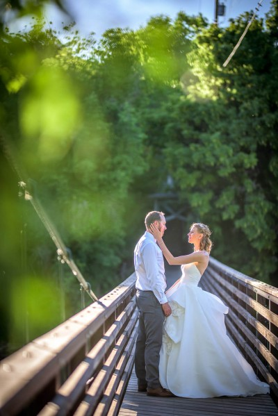 Wedding Picture from Durango Colorado of Bride and Groom on Durango Bridge