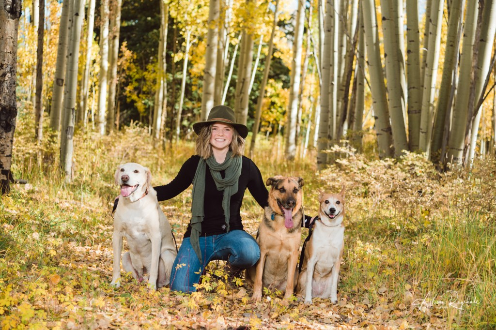 Senior pictures with 3 dogs