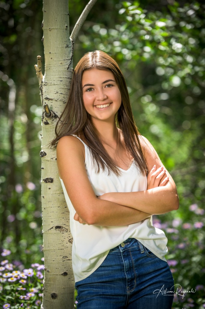 Senior pictures with aspen trees