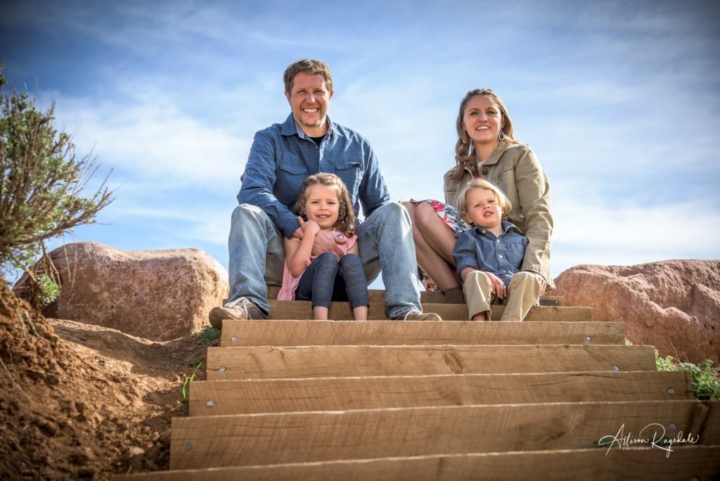 Family photos on the sky steps in Durango
