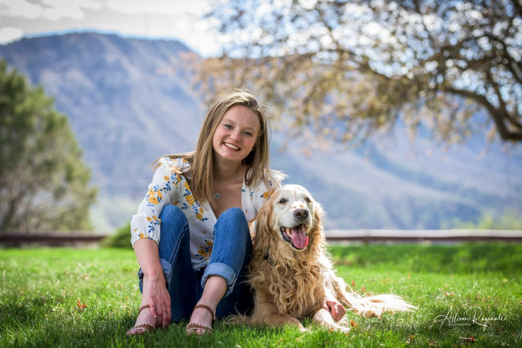 Senior pictures with dog in Durango, CO
