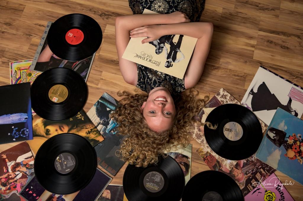 Amazing senior photo with records