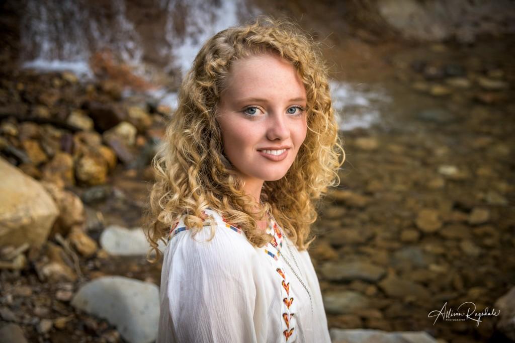 Gorgeous senior pictures near waterfall